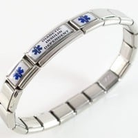 Diabetic Insulin Dependent Medical ID Alert Italian Charm Bracelet Blue