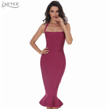 2017 New Women Party Bodycon Bandage Dress Sexy Khaki Wine Red Off Shoulder Halter Fishtail Midi Club Backless Runway Dresses