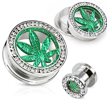 00 Gauges Stainless Steel Clear Gem with Glitter Pot Leaf Screw Fit Tunnel 10mm - Sold As a Pair