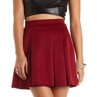 Pleated High-Waisted Skater Skirt by Charlotte Russe - Burgundy