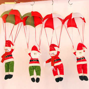 24cm Christmas Home Ceiling Decorations Parachute Santa Claus Smowman Christmas Hanging Pendant Christmas Decoration Supplies