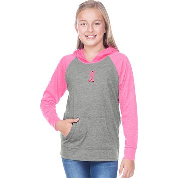 Buy Cool Shirts Girls Breast Cancer Hoodie Embroidered Pink Ribbon Small Print