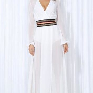 Along For The Ride White Long Sleeve Cross Wrap V Neck Belted High Slit Maxi Dress