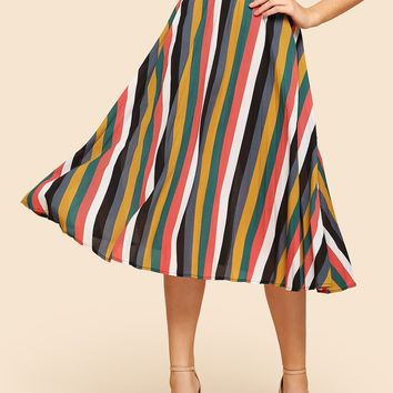 Vertical Striped Pleated Skirt