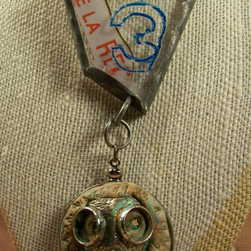 Urban Decay Brutalist Steampunk Dark Grim Gas Mask Post Apocalyptic Mixed Media Art Necklace Louzart Distressed Grunge Industrial Ships Free