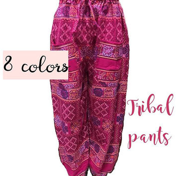 Tribal pants two pockets strech waist 25-35 inches ,jumper pants with tie, ethnic chic yoga gypsy hippie graphic pants