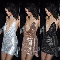 Summer Fashion  Female Solid Color Sequin Deep V Backless Halter Metal Chain Mini Dress