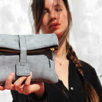 Letaher clutch/gray leather clutch/women bag/gift for her