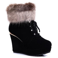 Black Back Zip Lace Up Boots With Fur Design