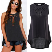 Sexy Women's Sleeveless, Hollow Out, Loose Blouse