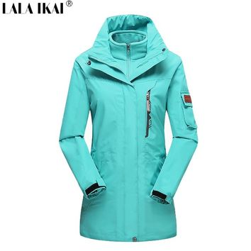 LALA IKAI Women's Windbreaker Waterproof Jacket Softshell Fleece Jacket Medium-Long Winter Hiking Fishing Clothing HWA1562-5