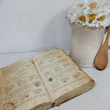 The Good Housekeeping Cook Book  Old Well Used Stained Torn Cookbook in Challenged Condition Movie Stage Screen Kitchen Scene Theater Prop