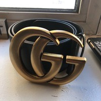 Gucci Wide Leather Belt Size 90/GG