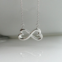 Infinity necklace, infinity heart, silver, tiffany inspired - INFINITY NECKLACE