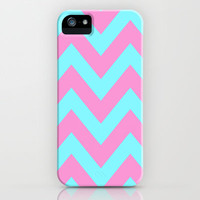 PINK & TEAL CHEVRON  iPhone & iPod Case by natalie sales