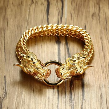 Men's Punk Double Dragon Head Herringbone Chain Bracelet for Men Braslet Stainless Steel Gold Tone Hip Hop Male Jewelry 22.5cm