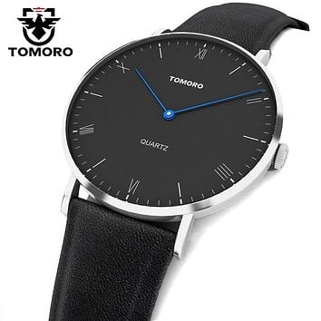 TOMORO Super Slim Minimalist Casual Watches Genuine Leather Analog Japan Quartz Watch Unisex Men's Fashion 2017 relojes hombre