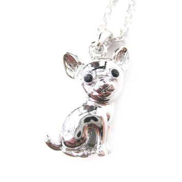Adorable Chihuahua Puppy Dog Shaped Animal Pendant Necklace in Silver