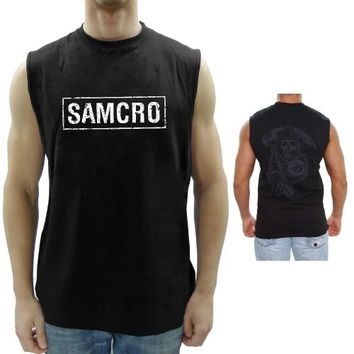 Sons Of Anarchy Samcro Boxed Reaper Black Adult Muscle Sleeveless T-Shirt - Sons of Anarchy - | TV Store Online