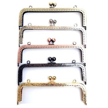 10Pcs Kiss Clasps Lock Mixed Flower Embossed Square Metal Frame Purse Bag Parts Accessories 20cm