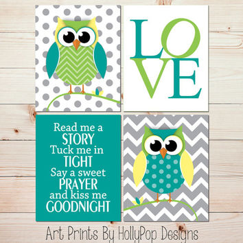 Owl Nursery Wall Art Baby Boy Nursery Wall Decor Nursery Art Prints Teal Lime Green Gray Nursery Art Read Me A Story Nursery Art Decor #1208