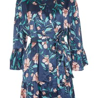 Satin Peony Floral Dressing Gown