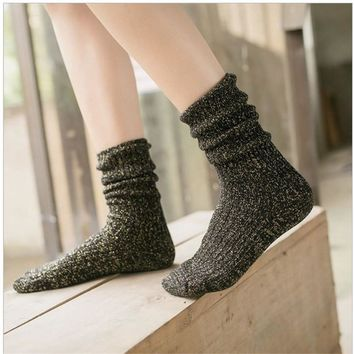 Winter Cotton Silver Ladies Socks 5pcs/set [47784099847]