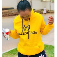 BALENCIAGA Fashion Women Casual Letter Print Yellow Hoodie Sweater Sweatshirt