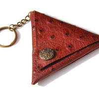 Vintage Mini coin purse/ case : handmade leather keychain