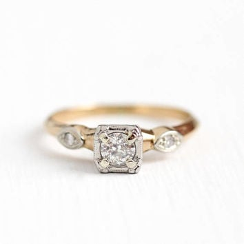 Vintage 14k Rosy Yellow & White Gold .37 CTW Diamond Ring - Size 8 1940s Fine Old European Cut Engagement Bridal Heart Motif Jewelry