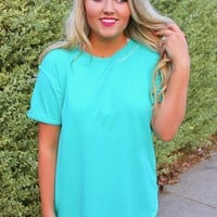 Jadelynn Brooke: Faith Above Everything Embroidered Slouchy Tee {Mint} - Size LARGE