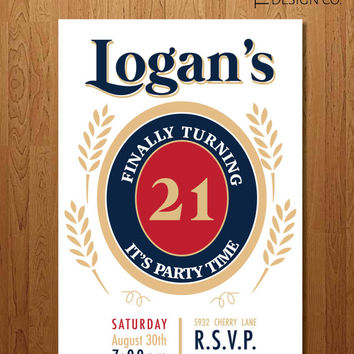 Printable Invitation - 21st Birthday  - Miller - Guy Birthday