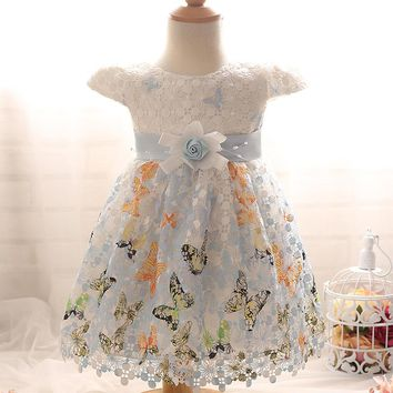 2 Colors Available Butterfly Embroidered Lace Ball Gown for Baby Girl 1 Year Birthday Dress Floral Bowknot Infant Summer Dress