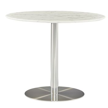 "Tammy 37"" Round Dining Table with White Marble Marquina Top and Polished Stainless Steel Base"