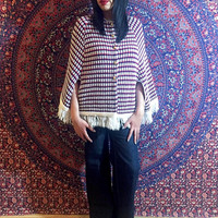Vintage 60s White Striped Orlon Mod Wool Fringe Cape w/ Brass Buttons One Size Fits Most