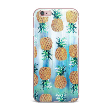 "Nikki Strange ""Pineapple Beach"" Blue Brown iPhone Case"