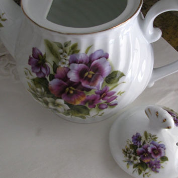 Royal Caldone Purple Violet English Bone China Teapot Ceracraft LTD., February Flower Of The Month Teapot