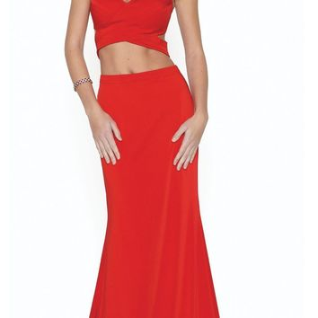 Red Faux Two-Piece Mermaid Floor Length Prom Dress