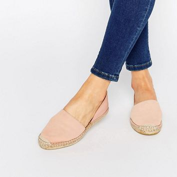 Pieces Jasha Nude Pink Leather Espadrille Two Part Flat Shoes at asos.com