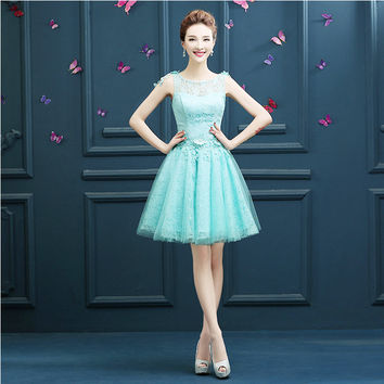2017 bridesmaids mint green champagne colored short girls bridesmaid red tulle dress in special occasion free shipping B3355