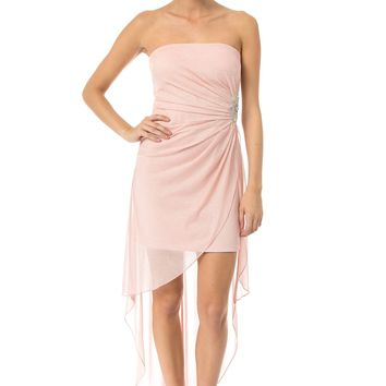 Teeze Me | Jewel Ornament High-Low Dress - Blush - 7