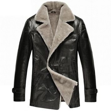 Mens Classics Black Fur Shearling Sheepskin Coat Double Breasted