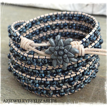 Seed Bead Wrap Bracelet Handcrafted With Natural Leather And Black Picasso Seed Beads/ Beaded Leather Wrap Bracelet/ Seed Bead Bracelet.