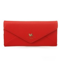 Lady Long Clutch Bag Purse Pouch Wallet Envelope Style PU Leather Red - Default