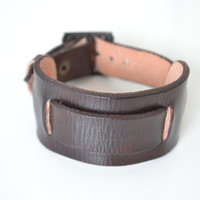Men's Bracelet Brown Leather  with words stamp design by you.