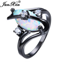JUNXIN Gorgeous Rainbow Fire Opal Ring