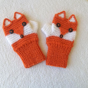 Fox gloves, adult size, fox mittens, fox fingerless gloves,crochet animal gloves, gift for her, gift for him, gift for bff, free shipping