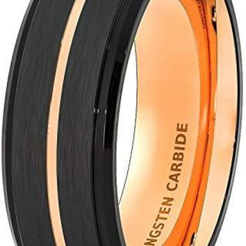 Men's Black Tungsten Wedding Band With Thin Rose Gold Groove Step Edge and Brush Finish - 8mm