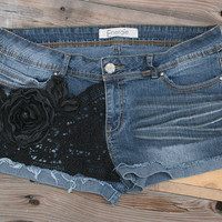 Super Cute Southern Girl Cutoffs slightly Distressed Denim w/ Black Lace, Flower Applique, Silver Studs,Creasing - FREE SHIPPING in the USA