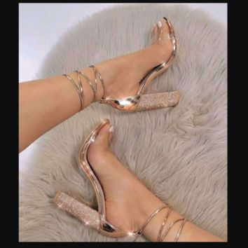 Hot style point crystal diamond heel cross strap with high heels for women